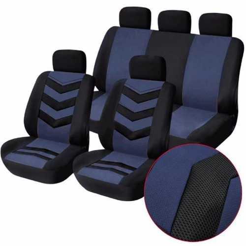 Tirol Breathable Universal Car Seat Cushion Cover Gray Blue for SUV Sedans 9pcs