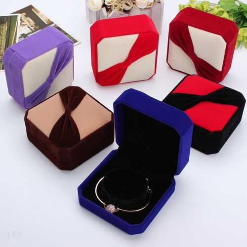 Flocking Octagonal Bowknot Bangle Bracelet Jewelry Gift Box Case
