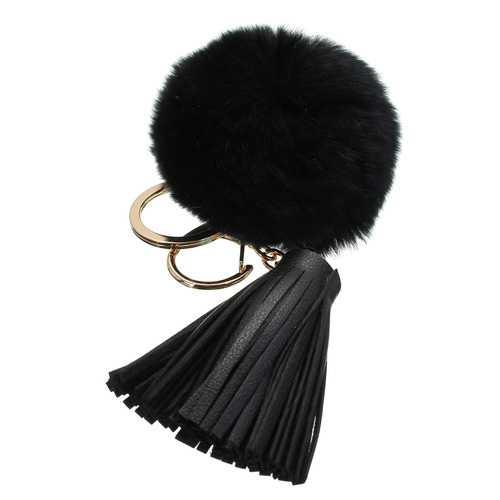 Car Keychain Handbag KeyRing Fashion Beaver Rabbit Fur Ball PomPom with Tassel
