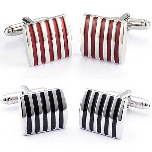 Men Cuff Links Color Stripe Metal Copper Enamel Square Accessories for Shirt