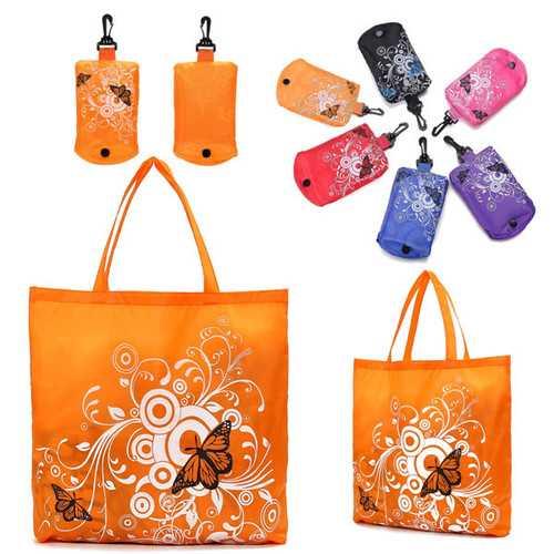 1 PCS Eco Storage Handbag Hook Foldable Butterfly Totes Shopping Bags