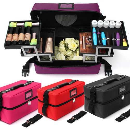 Makeup Cosmetic Organiser Case Jewellery Storage Trinket Zipper Box Holder