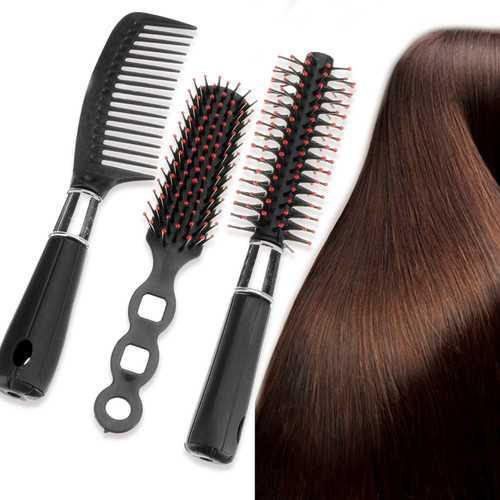 3Pcs/Set Black Pro Hair Styling Hairdressing Comb Hair Brushes Kit