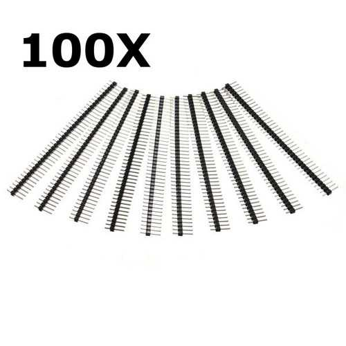 100 Pcs 40 Pin 2.54mm Single Row Male Pin Header Strip For Arduino Prototype Shield DIY