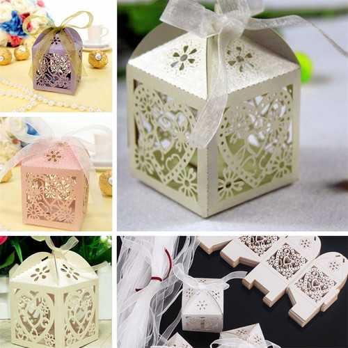 10PCS Heart Pattern Ribbon Laser Cut Hollow Out Wedding Candy Box Gift Chocolate Storage