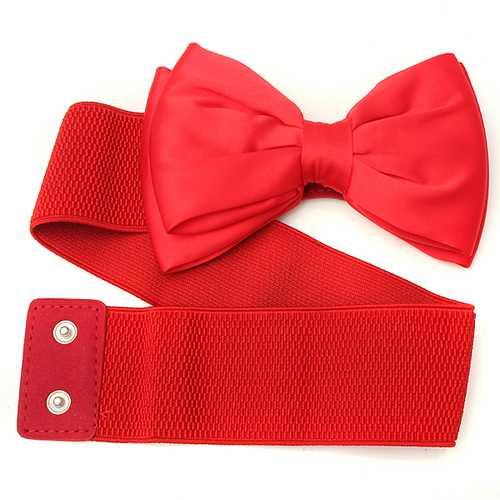 Women Ladies Chiffon Bowknot Elastic Bow Wide Stretch Buckle Waistband Waist Belt