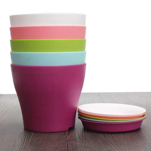 12cm 6 Colors Plastic Plant Flower Planting Flower Pot Garden Office Decoration Flower Pot With Tray