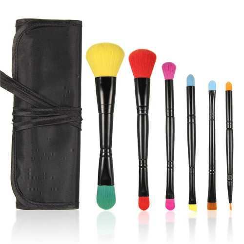 MSQ Portable 6pcs Dual-head Colorful Makeup Comestic Brushes Set Kit