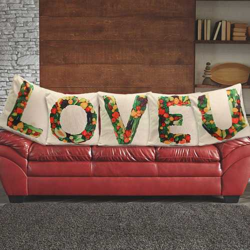 Alphabet A-Z Love Letters Word Fruit Throw Pillow Case Cotton Linen Sofa Bed Cushion Cover