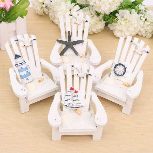 Mediterranean Style Wooden Mini Chairs Desktop Ornaments Home Garden Decoration Furnishings