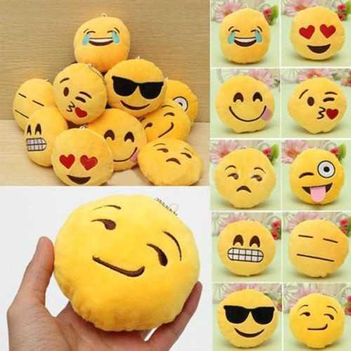8CM Cute Individuality Emoji Expression Key Rings Plush Keychains