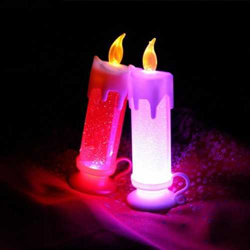 7 Colors Changing LED Candle Driping Candle Wax Bridge Light Glitter Water Home Decoration