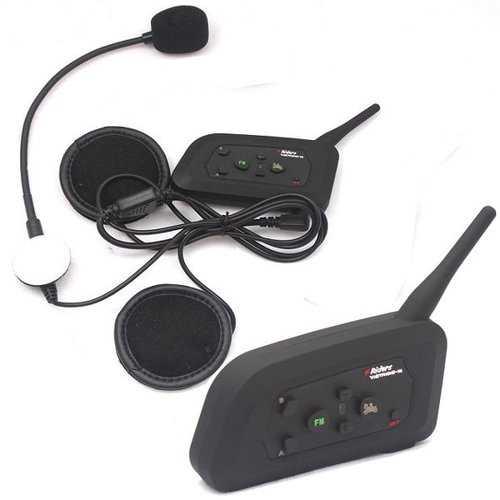 2pc 1000M 4 People Group Talking Helmet Intercom US Plug With Bluetooth No Need Change Channels