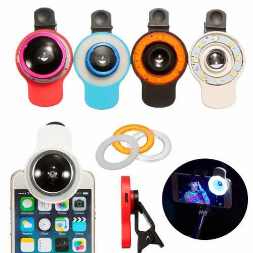 9 in 1 Clip-on Phone Selfie Speedlite 8 LED Flashlight Lamp Wide Angle Fish Eyes Lens Fill Lights