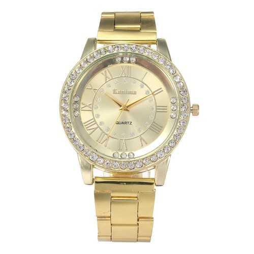 Crystal  Roman Number Stainless Steel Band Wristwatch Analog Quartz Wrist Watch