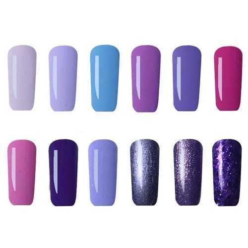 12 Colors Nano Gorgeous Purple Color System Nail Art UV Gel Polish Soak-off 12ml