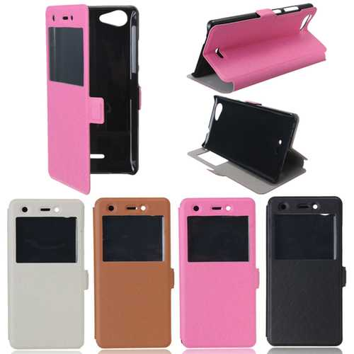 PU Leather Magnetic Flip Stand Window Case Cover Pouch Sleeve For Wiko Pulp 4G