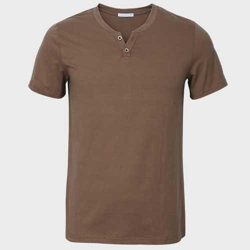 Men V-neck Solid Color Short Sleeve Slim Cotton Casual  T-shirt