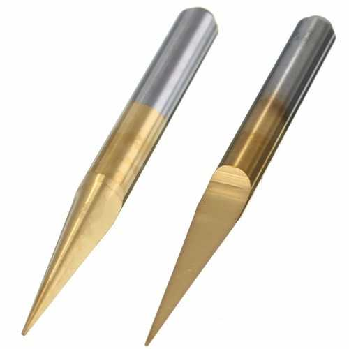 5pcs 0.1mm 10 Degree PCB Drill Bits Titanium Coated Carbide Flat Bottom PCB Engraving Bits