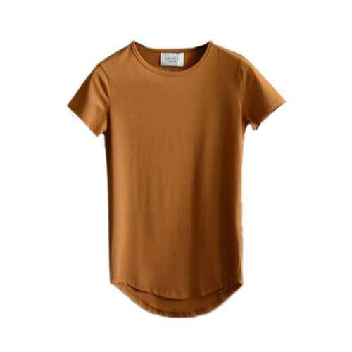 Long Mens Spring Summer Cotton Essential Basic Tshirts Short Sleeved T-shirts