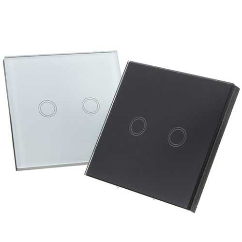 2 Gang 1 Way Touch Wall Light Switch Glass with Remote Control