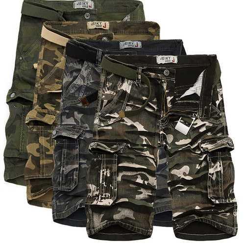 Mens Outdoor Cargo Loose Camo Shorts Large Multi Pockets Cotton Short Pants