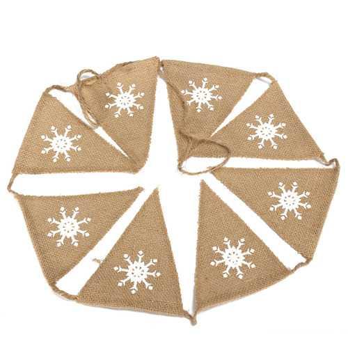 1.6M Snowflake Pattern Hessian Burlap Fabric Rustic Wedding Banner Bunting Decoration