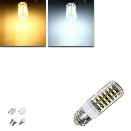 E27 E14 B22 G9 GU10 7W 64 SMD 5733 1000LM  LED Warm White White Cover Corn Bulb AC 110V