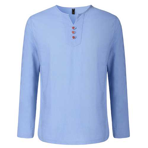 Linen V Shape Crew Neck Side Slit Hem Solid Color Shirts