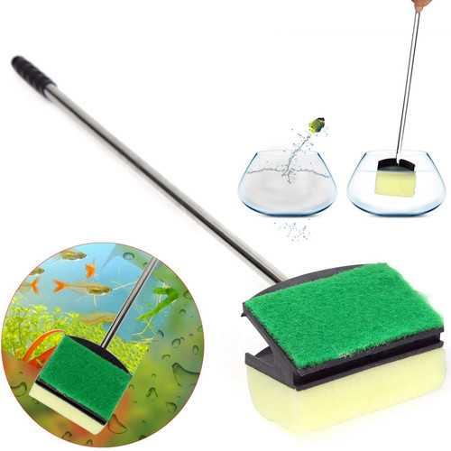 Aquarium Glass Brush Fish Tank Cleaning Tool Stainless Steel Handle Clean Seaweed  Aquarium Supplies