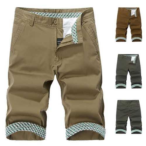 Mens Plus Size Cotton Solid Color Fashion Casual Shorts Summer Bermudas