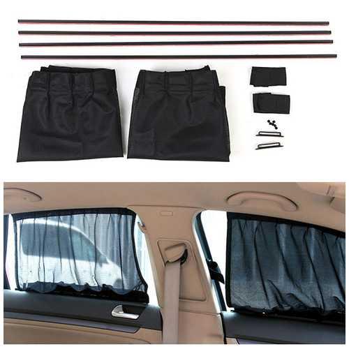 2X 70*47CM Mesh Fabric Adjustable Car Window Sunshade Side Window Curtains with Tracks