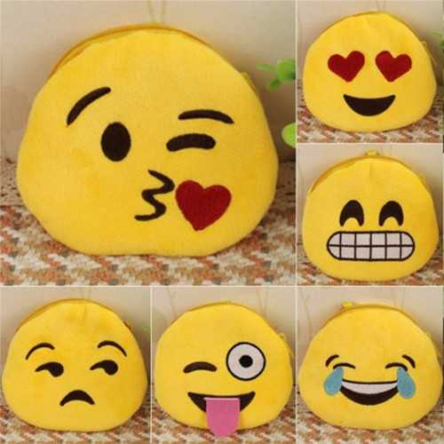 Coin Purse Soft Plush Cute 3D Emoji Expression Card Pouch Zipper Wallet Key Hold