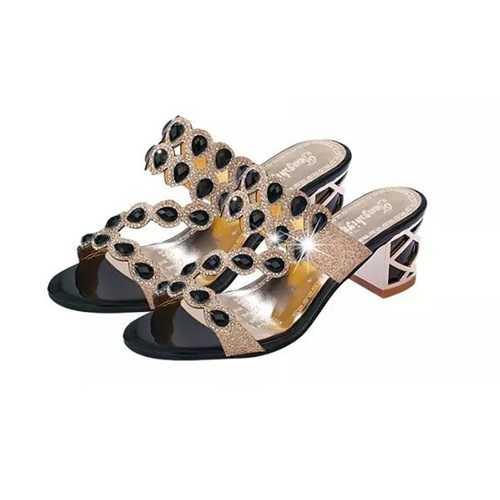 Women Casual Platform Sandals Rhinestone Slip On Shoes Beach Sandals