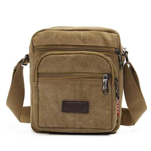 Men Casual Retro Canvas Shoulderbags Multi Pocket Crossbody Bags