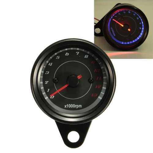 13000 RPM Motorcycle Red+Blue LED Tachometer Speedometer Gauge Universal