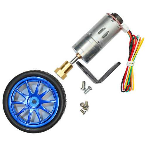 CHIHAI  MOTOR 6V 210RPM Encoder Motor DC Gear Motor with Mounting Bracket and Wheel