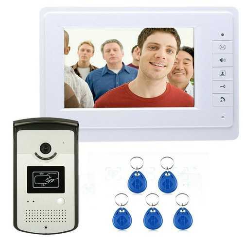 "ENNIOSY819MEID11 7"" Color Video Intercom Door Phone System with Monitor RFID Card Reader HD Doorbell"