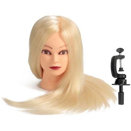 """24"""" White 80% Real Human Hair Practice Mannequin Head Hairdressing Mannequin Training Clamp"""
