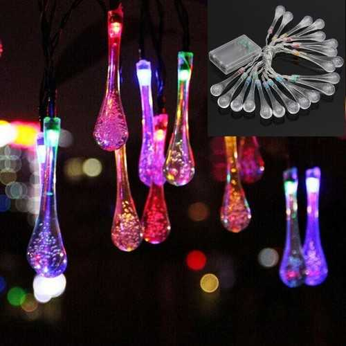 2.2M 20 LED Colorful Wedding Xmas Party Outdoor Decor Drop Shape Fairy Light