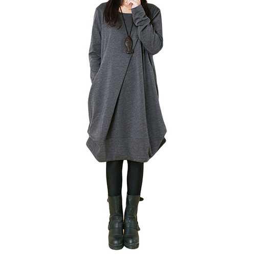 Asymmetrical Pleats Button Loose Dress Long Sleeve For Women