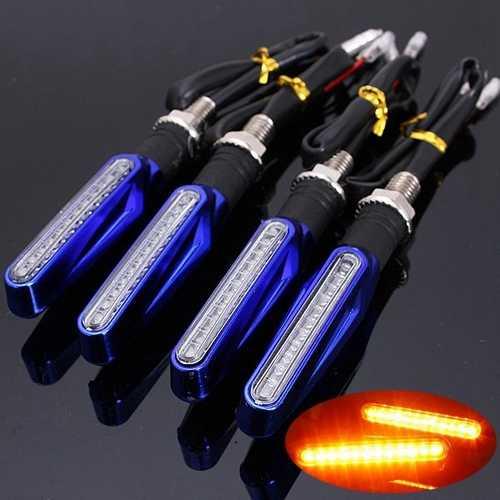 4pcs Motorcycle LED Turn Signal Indicator Blinkers Amber Light Blue Body Shell