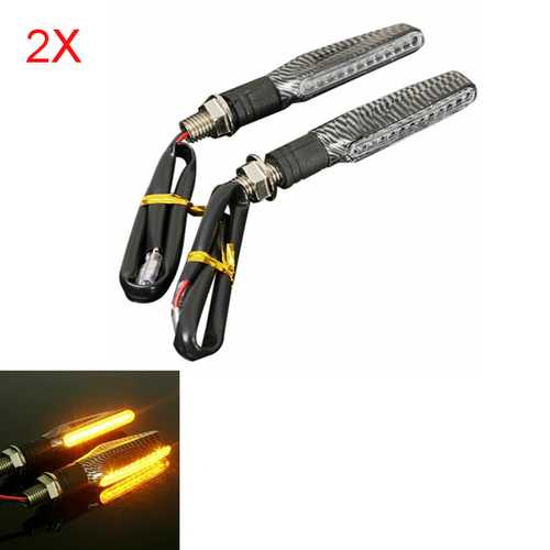 4pcs Motorcycle LED Turn Signal Indicator Blinkers Amber Light Carbon Body Shell