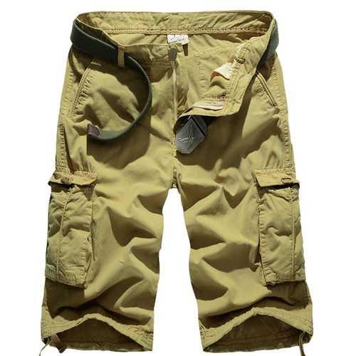 Summer Mens Cotton Beach Shorts Big Pockets Washed Solid Color Cargo Shorts