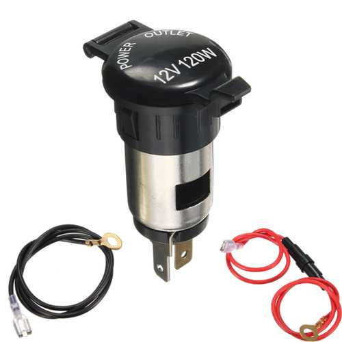 12V 120W Ignitor Socket Plug Adapter with Cable For Motorcycle Car