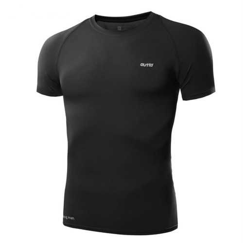 Men Round Collar Fitness Running Tights Short Sleeves T-shirt High Elastic Quick Dry Breathable Top Tees