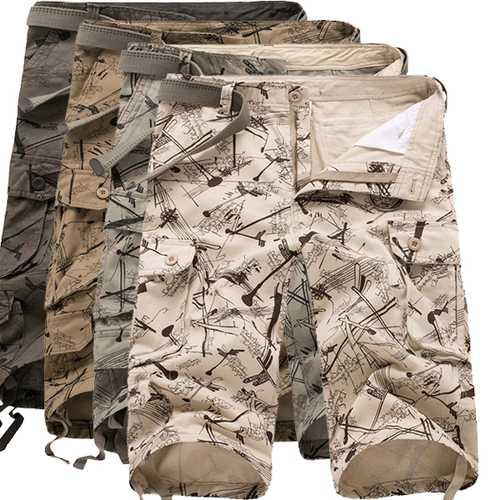 Mens Military Summer Cotton Loose Multi Pocket Casual Camo Cargo Shorts
