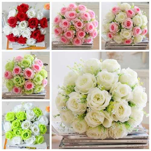 18 Head / Bouquet 15'' Artificial Silk Roses Flowers Bridal Home Wedding Decor Supplies