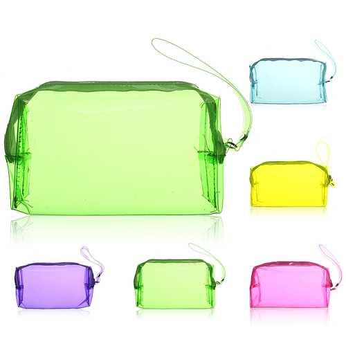 6 Colors Large Capacity Plastic Transparent Cosmetic Makeup Bag Case Zip Pouch Neat Organizer