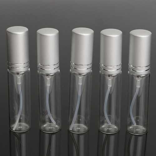 5Pcs Mini Refillable Transparent Empty Perfume Bottle Glass Spray Atomiser Travel